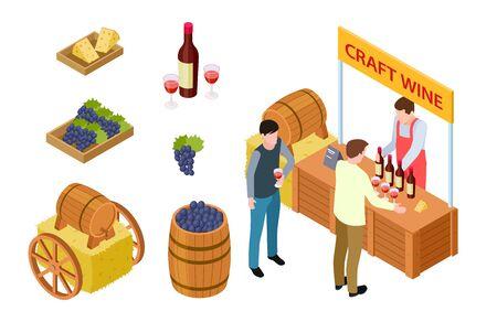 Craft wine tasting. Winemaking isometric concept. Vector grapes, cheese, market stall, wooden barrel. Illustration wine taste near stall, bottle winery tasting