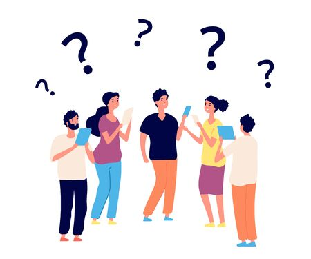 Finding solution. Thinking people, teamwork. Vector persons think with question marks. Question problem, solution idea, people riddle illustration Ilustrace