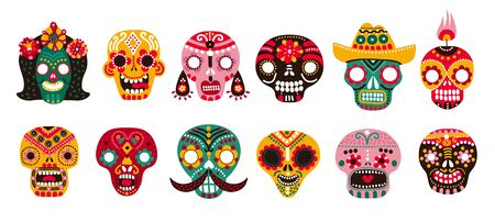 Dead day skulls. Mexican sugar human head bones halloween tattoo dia de los muertos vector set. Illustration death head, halloween human head, mexico pattern colorful