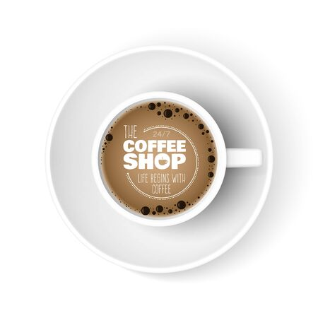 Realistic coffee cup. Top view cup, coffee shop ad banner. Morning espresso americano vector illustration. Coffee in cafe shop, hot drink