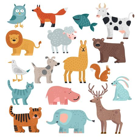 Cute animals. Tiger, owl and bear, elephant and lion, llama and deer, hare and dog, squirrel wild and farm cartoon animal vector set. Dog and hare, llama and gull, cat and deer illustration Foto de archivo - 133702375
