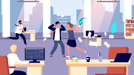 Office brawl. Chaos in workplace. Negative employees in office. Bad organization control, business corporate vector illustration. Office business battle, brawl on workplace, quarrel and fight Vettoriali