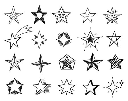 Hand drawn stars. Sketch star shapes, black starburst doodle signs for christmas party invitation, festive texture isolated vector set. Sketch star drawn, hand drawing doodle asterisk illustration