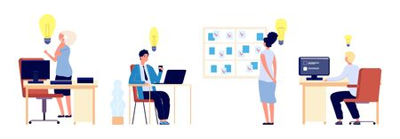 New ideas. Business people have great ideas. Flat male female thinking about business process. Vector people characters at workplace. Illustration business female and male, businesswoman businessman