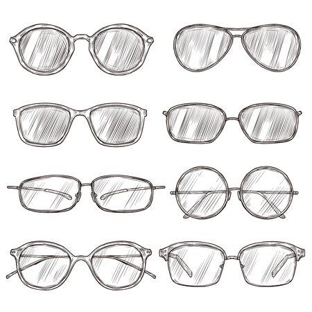 Sketch sunglasses. Hand drawn eyeglass frames, doodle eyewear. Male and female glasses isolated fashion vector vintage set. Illustration sunglasses and eyeglasses sketch, fashion drawn Illusztráció
