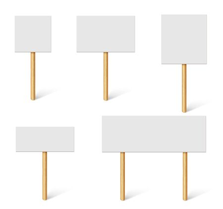 Blank demonstration banners. Protest placards, public transparency with wooden holders. Campaign boards with sticks vector 3d mockup. Illustration blank and placard empty, cardboard banner