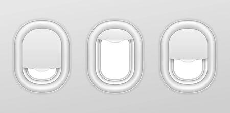 Airplane windows. Aircraft interior with transparent portholes. Realistic airplanes illuminators vector isolated set. Aircraft flight, travel and trip, aviation airplane, porthole window illustration