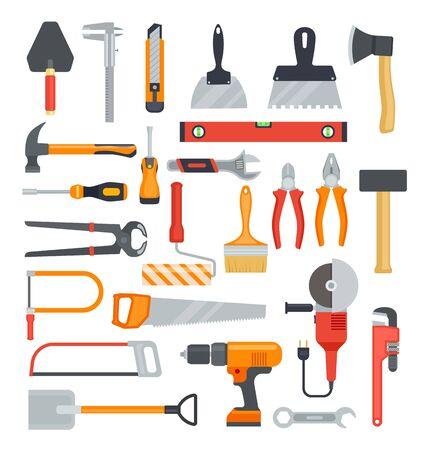 Płaskie narzędzia pracy. Młotek i wiertarka, siekiera i śrubokręt. Szczypce i piła, klucz i łopata. Zestaw ikon na białym tle wektor narzędzia budowlane. Ilustracja narzędzia sprzętowego, klucz przemysłowy i młotek Ilustracje wektorowe