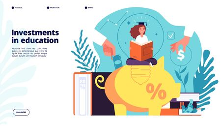 Investments in education. Investment in knowledge learning student, educative credit scholarship, financial business plan vector design. Education school credit, student with scholarship illustration