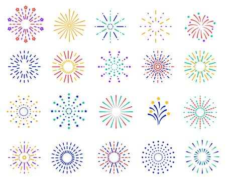 Color fireworks. Festive sparkles, carnival salutes. Birthday party and christmas vibrant firecrackers explosion vector set. Illustration fire carnival, christmas celebration firecracker