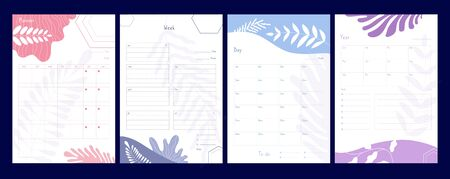 Weekly planner. Organizer and schedule with notes, planners and to do list, agenda checklists calendar office events vector template. Illustration office notebook, weekly calendar, agenda diary