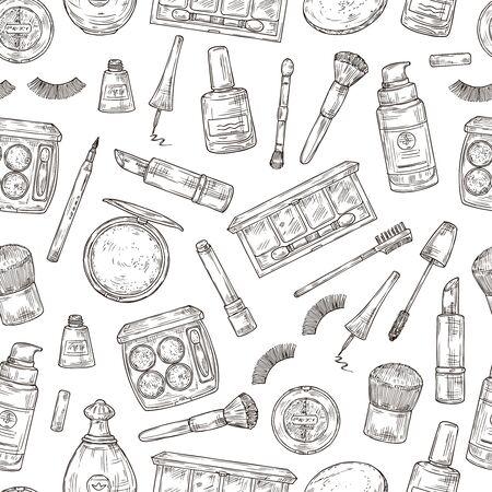 Cosmetics products. Eyelashes, lipstick and perfume, powder and makeup brush. Nail polish, foundation and tweezers doodle seamless pattern. Illustration brush and lipstick, powder and makeup 일러스트