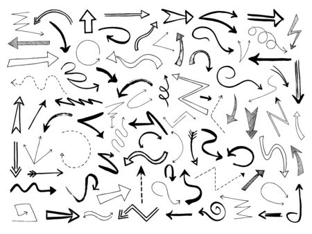 Hand drawn arrows. Sketch black arrow direction line signs. Doodle scribble monochrome way pointers, outline vector set. Illustration arrow pointer, line scribble sketch