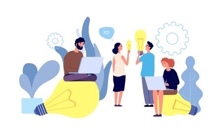 Differet ideas. People have ideas vector concept. Innovation, teamwork, startup. Young people characters with giant light bulbs, laptop. Illustration leadership with idea, team success brainstorming