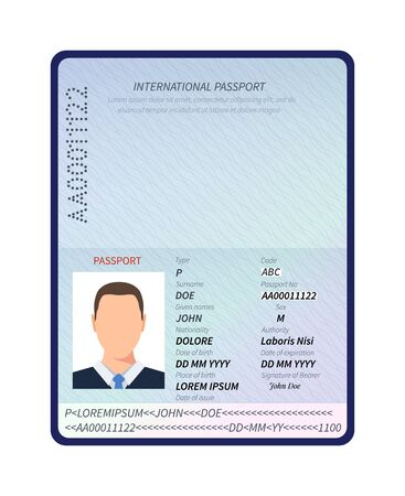 Passport. Open id document with male photo portrait and blank space for immigration visa stamps vector template. Id passport for security, official document identification illustration