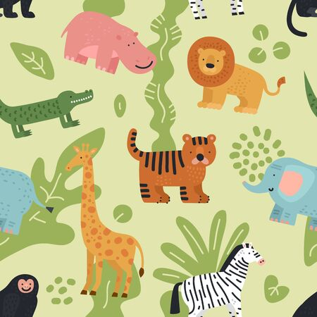 Jungle animals seamless pattern. Lion, crocodile and zebra, elephant and monkey, hippo and giraffe with summer tropical leaves vector texture. Monkey and lion, giraffe and elephant illustration