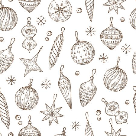 Christmas balls seamless pattern. Xmas tree decorations and snowflakes. Winter holidays, new year vector hand drawn textile texture. Christmas pattern seamless, winter textile xmas illustration