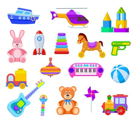 Children toys. Guitar and car, train and whirligig, bear and hare, helicopter and ball, rocket and ship, rattle kids toy vector set. Illustration ball and bear, car and whirligig toys Foto de archivo - 133702447