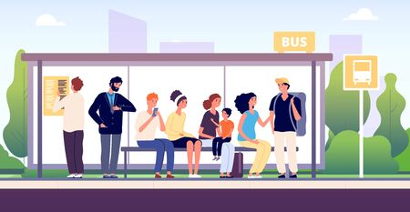 People at bus stop. City community transport, passengers waiting the buses standing together, urban public traffic cartoon vector concept. Illustration city bus stop for urban transport