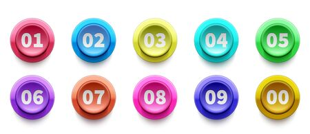3D numbers bullet point. Circle buttons with numbers vector set. Colorful 3d buttons icons. Illustration of marker 3d button, point number circular Ilustração