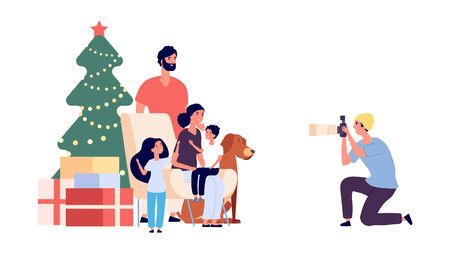Family photo. Happy family mom dad daughter son dog and photographer. Christmas photo. Professional photographer character. Illustration christmas photo xmas tree and family