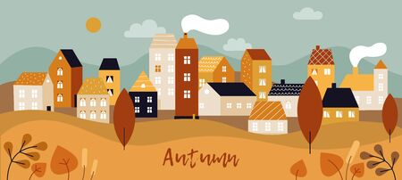 Autumn city landscape. Fall season panorama with simple cute houses and, trees and plants with yellow leaves. Minimal town vector background. Illustration plant, scene autumn season, outdoor fall tree Illustration