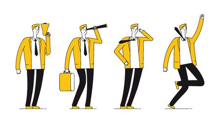 Businessman character. Flat successful businessman in different poses. Happy line male vector illustration. Businessman character, man professional corporate