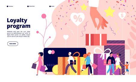 Loyaliteitsprogramma concept. Marketingprogramma voor klantentrouw, kortingskaart, winkel voor particuliere klanten. Advertentie vector ontwerp loyaliteit beloning programma illustratie