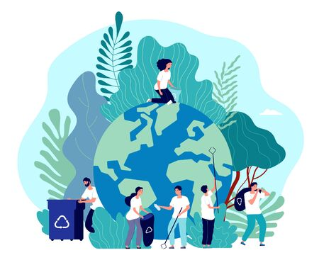 Take care of earth. Environmental protection, people saving planet, green energy ecosystem, volunteer ecologists, flat vector concept. Illustration voluntary collect plastic, nature environment Ilustração