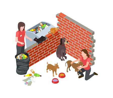 Stray animals problem. Stray dogs cats care. Isometric vector volunteers and homeless animals. Volunteer homeless animals, support and volunteering illustration