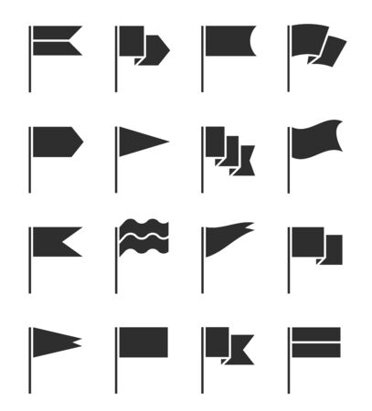 Flag icons. Pennant with flagpole, black silhouette destination banners. Gps location pin map markers, start and finish signs vector set. Flag pole for gps, marker start silhouette illustration
