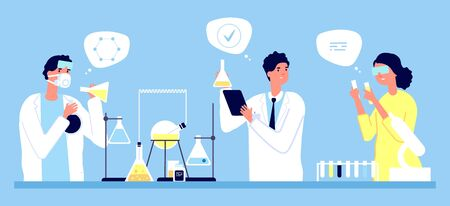 Laboratory concept. Scientists pharmaceutical tests vector illustration. Medicine, pharmacy, medical research. Illustration medical laboratory, pharmacy medicine test Stock Vector - 134975752