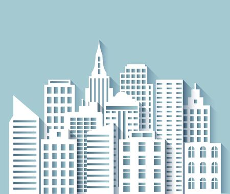 Paper city skyline. 3d Urban origami cityscape with white papercut modern houses and skyscrapers. Abstract megapolis vector panorama scene. Cityscape town, building urban graphic origami illustration