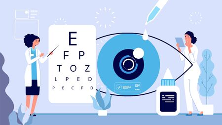 Ophthalmology illustration. Ophthalmologist checks vision vector concept. Woman oculist optical eyes test. Ophthalmology clinic vector illustration. Medical vision in hospital, ophthalmology treatment Stock Illustratie