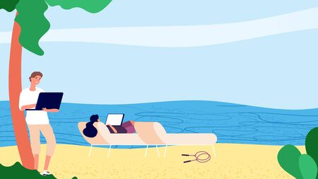 Downshifting people. Flat people working with laptop by sea. Vector escaping office freelance concept. Male female characters beach notebooks. Relaxation freedom freelance, traveler illustration