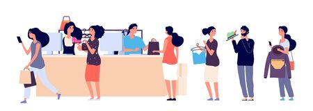 Shopping people queue. Fashion store cash desk vector illustration. Flat cashiers and buyers with clothes accessorises. Queue people in shop, store market Vectores