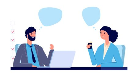 Employment concept. Business interview vector illustration. Flat business male and female characters. Man and woman talking at work. Employee character hiring worker, recruit department illustration Illustration