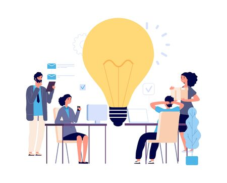 Teamwork concept. Creative idea, working process vector illustration. Flat business characters, brainstorm, implementation of new idea. Men women work. Brainstorming teamwork, idea illustration Illustration