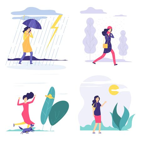 Four seasons. Woman various weather illustration. Vector autumn summer winter spring concept with flat girl. Season four, girl in rain or snow