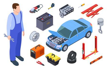 Auto mechanic and car tool. Isometric technician, auto industrial equipment, car vector elements. Auto car repair service, illustration vehicle mechanic