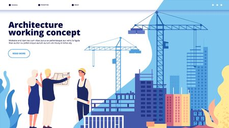 Building construction landing. Mortgage loan, feature construction investment, house renovation. Architectural service vector concept. Illustration building house, web construction page Reklamní fotografie - 134975840
