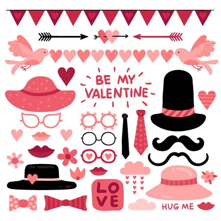 Valentines day photo booth props. Pink love wedding scrapbook elements, lips and mustaches. Glasses, tie and red heart vector selfie quotes. Heart props and pink cute valentine photobooth illustration Illustration