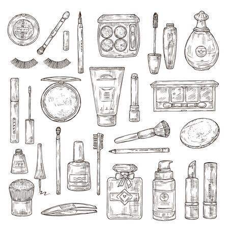 Sketch cosmetics. False eyelashes, lipstick and perfume, powder and makeup brush, and nail polish, foundation and tweezers doodle vector set. Makeup beauty lipstick, illustration of powder and perfume