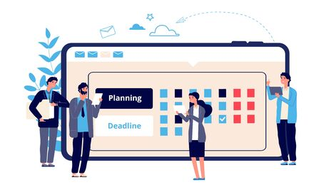 Schedule concept. Business entrepreneurship, online work planning. Flat entrepreneurs plan their work. Vector business characters and online calendar. Illustration work planner, agenda calendar