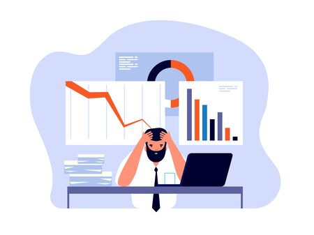 Financial crisis concept. Businessman in panic with falling trading charts. Failure and bankruptcy, economic risk vector background. Businessman crisis market, business chart and graph illustration
