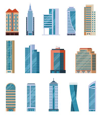 Flat skyscrapers. Modern city tall buildings. Residential and office houses exterior. Apartment blocks isolated cartoon vector set. Illustration skyscraper construction, tall building architecture