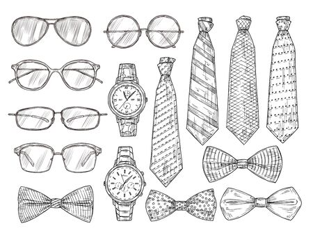 Sketched mens accessories. Glasses, watches and mens ties and bow tie. Vintage engraving vector set. Illustration sketch man bow tie, collection glasses Vektorové ilustrace