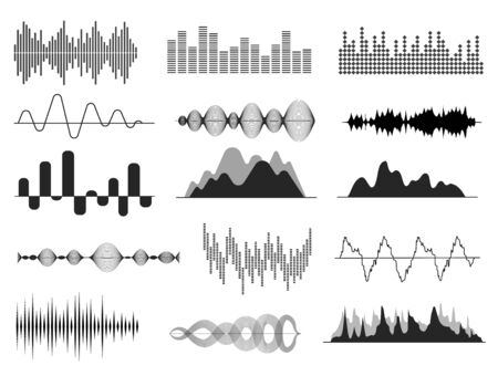 Sound waves. Music wave, audio frequency waveform. Radio voice and soundtrack symbol. Soundwave abstract signals isolated vector set. Illustration sound voice, digital frequency radio, soundwave music Stock fotó - 134975965