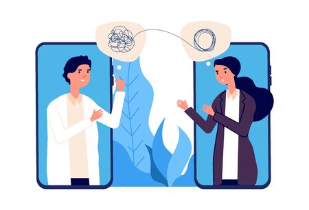 Online psychotherapy concept. Psychologist doctor helps patient to unravel tangled thoughts. Psychological problems, mental disorder. Online help vector illustration. Online psychiatrist consultation