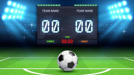 Football stadium background. Realistic soccer ball in green field. Stadium electronic sport scoreboard soccer time and football match result display vector illustration. Stadium soccer, match football